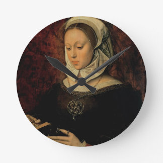 Young Woman Reading a Book of Hours (oil on panel) Round Clock