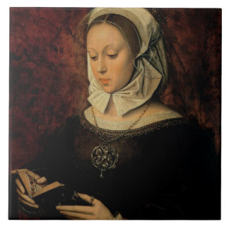 Young Woman Reading a Book of Hours (oil on panel) Tile