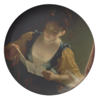 Young Woman Reading a Letter (oil on canvas) Dinner Plate