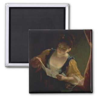 Young Woman Reading a Letter (oil on canvas) Magnet