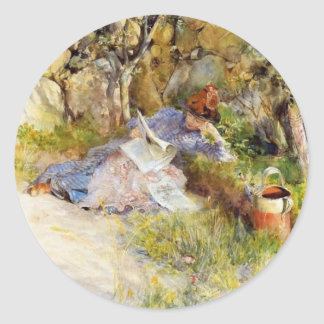 Young Woman Reading in the Shade Classic Round Sticker