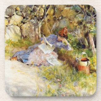 Young Woman Reading in the Shade Drink Coasters