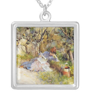 Young Woman Reading in the Shade Silver Plated Necklace