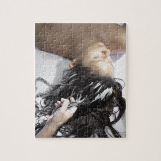 Young woman receiving hair treatment jigsaw puzzle