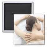 young woman receiving massage,woman in health 2 refrigerator magnet