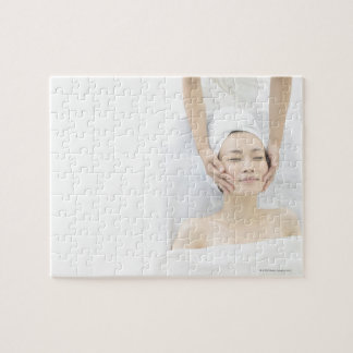 young woman receiving massage,woman in health jigsaw puzzle