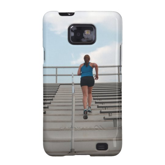 young woman running up steps galaxy s2 case