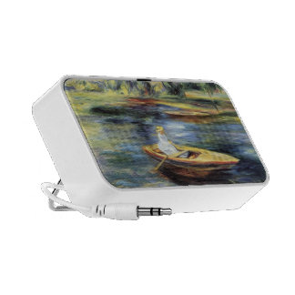 Young Woman Seated in a Rowboat by Pierre Renoir iPhone Speakers