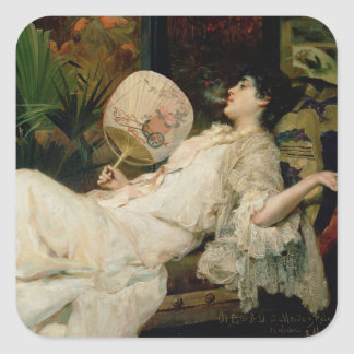 Young Woman Smoking, 1894 Square Sticker