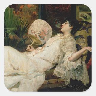 Young Woman Smoking, 1894 Sticker
