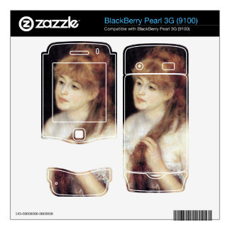 Young woman strokes her hair by Pierre Renoir Decal For BlackBerry