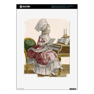Young Woman Studying Music at her Harpsichord, pla iPad 3 Skin