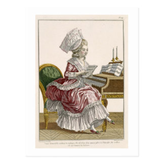 Young Woman Studying Music at her Harpsichord, pla Postcard