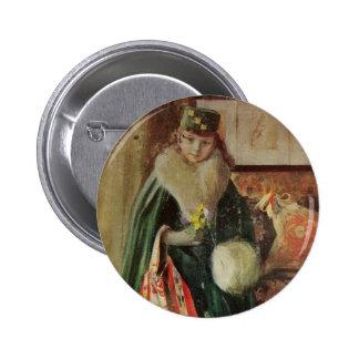 Young Woman Traveler Button
