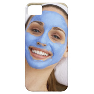 Young woman wearing facial mask, smiling, iPhone SE/5/5s case