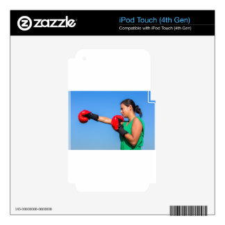 Young woman wearing red boxing gloves blue sky decal for iPod touch 4G