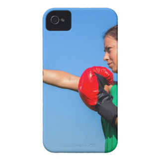 Young woman wearing red boxing gloves blue sky iPhone 4 Case-Mate case