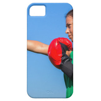 Young woman wearing red boxing gloves blue sky iPhone SE/5/5s case