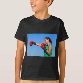 Young woman wearing red boxing gloves blue sky T-Shirt