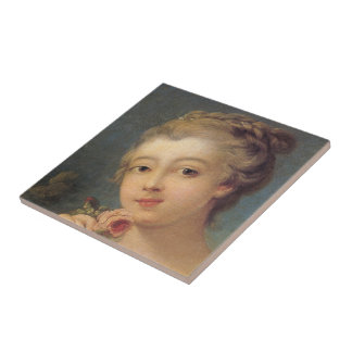 Young Woman with a Bouquet of Roses Ceramic Tile