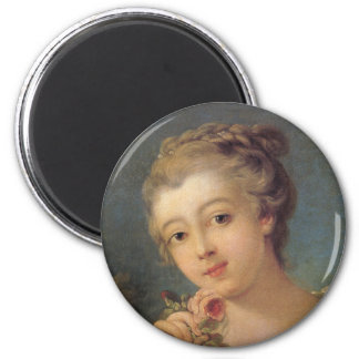 Young Woman with a Bouquet of Roses in detail Magnet