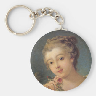 Young Woman with a Bouquet of Roses Keychain