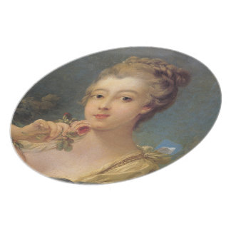 Young Woman with a Bouquet of Roses Plate