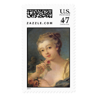 Young Woman with a Bouquet of Roses Postage