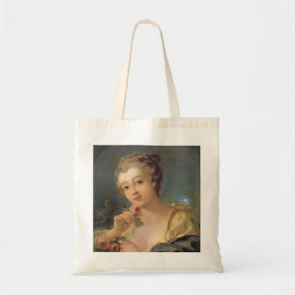 Young Woman with a Bouquet of Roses Tote Bag