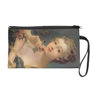 Young Woman with a Bouquet of Roses Wristlet Purse