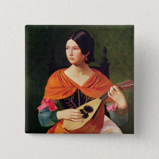 Young Woman with a Mandolin, 1845-47 Pinback Button