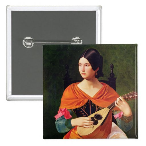 Young Woman with a Mandolin by Vekoslav Karas 2-inch Square Button