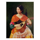 Young Woman with a Mandolin, 1845-47 Poster