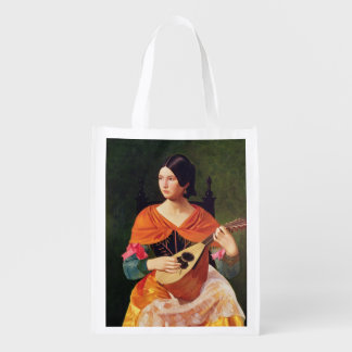 Young Woman with a Mandolin, 1845-47 Reusable Grocery Bag