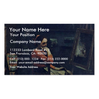 Young Woman With A Mandolin By Corot Jean-Baptiste Business Card Template