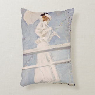 Young Woman with a Parasol on a Jetty Decorative Pillow
