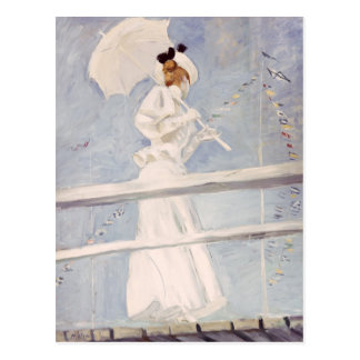 Young Woman with a Parasol on a Jetty Postcard