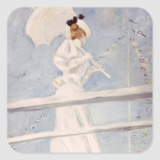 Young Woman with a Parasol on a Jetty Square Sticker