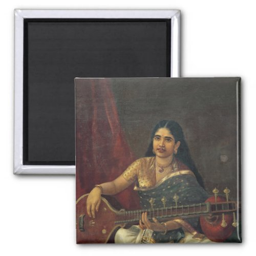 Beautiful Young Indian Woman Playing a Veena 2-inch Square Magnet