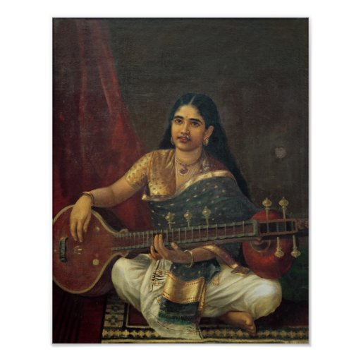 Young Woman with a Veena Poster