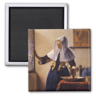 Young Woman with a Water Pitcher 2 Inch Square Magnet