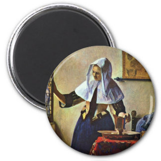 Young Woman With A Water Pitcher.,  By Johannes Ve 2 Inch Round Magnet