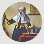 Young Woman With A Water Pitcher.,  By Johannes Ve Sticker