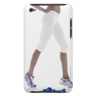Young woman with dumbbells stretching (low barely there iPod case