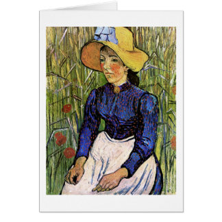 Young Woman with Straw Hat Vincent van Gogh Greeting Cards