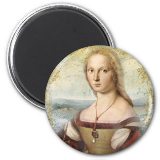 Young Woman with Unicorn 2 Inch Round Magnet