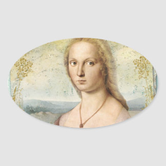 Young Woman with Unicorn Oval Sticker