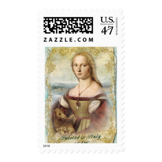 Young Woman with Unicorn Postage