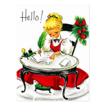 Young woman writing a Christmas letter, vintage Postcard