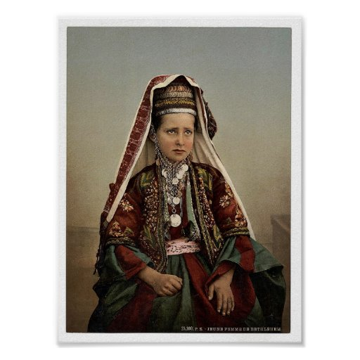Young women of Bethlehem in costume, Holy Land rar Poster